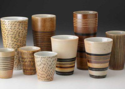 Wood fired, salt glazed tumbler series